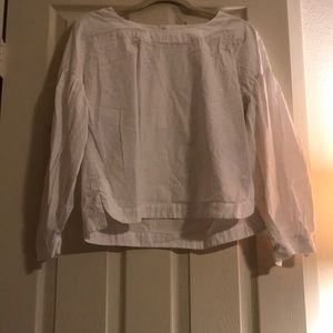 Gap white blouse with bubble sleeve